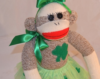 Irish Sock Monkey Girl Doll