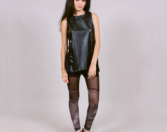 Smoke black leggings - minimalist goth fashion faux thigh hi ROGUE MINX