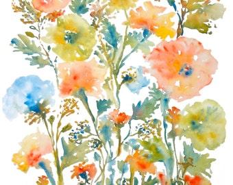 Floral Medley, Watercolor Flowers Fine Art Print