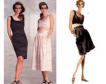 80s Dress Midriff Top Skirt Shorts Pattern Vogue American Designer 2054 Perry Ellis Size 6 Bust 30 1/2 inches  UNCUT FF