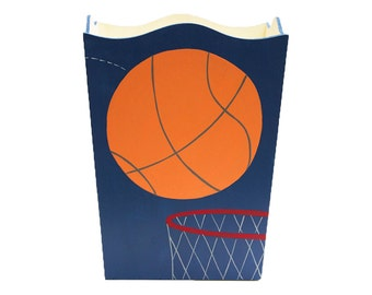Wooden Waste Basket - Custom Hand Painted Children's Wood Garbage or Trash Can - Sports Basketball or Any Kid's Theme