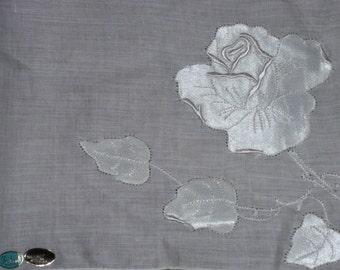 Madeira wedding hanky satin rose appliques white on white with tags