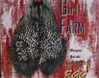 Sassy Girl Farm #2 original acrylic painting on re-purposed wood