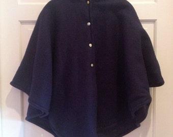 Vintage Navy Fleece Cape Peter Pan Collar