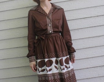 Brown Print Dress 70s Floral Casual Vintage 1970s S M