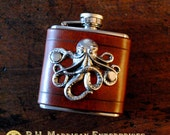 Flask - silver octopus on brown leather (3 oz), steampunk pirate hipster groomsman wedding