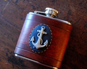 Flask - navy Anchor cameo on brown leather (3oz)