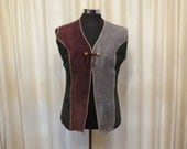 RESERVED FOR PHOEBE Vintage 80s Mens' Atelier Brown, Green and Grey Patch Suede Leather Vest Jacket
