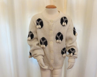 Vintage 80s Machine Knitted and Hand Crocheted Girls' Ivory Black and Grey Cherry Cardigan Jumper Jacket Sweater