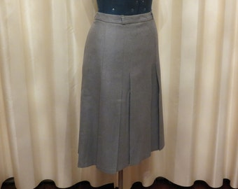Vintage 70s 80s Made in Australia Fletcher Jones Light Grey Wool Pleated Skirt