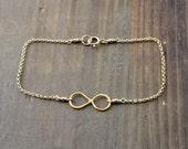 Infinity Bracelet, Gold Fill Infinity Charm Bracelet, Stacking Bracelet