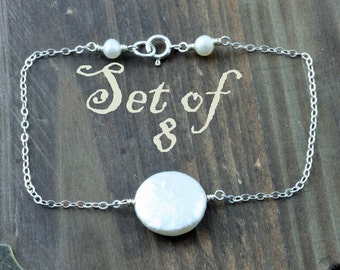 Bridal Party Bracelets, Set of 8, Bridal Party Gifts, Fresh Water Coin Pearl and Sterling Silver Stacking Bracelet