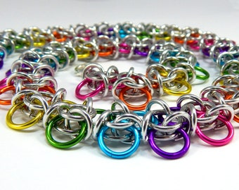 Chainmaille Jewellery, Necklace, Rainbow, Bobble, Aluminum