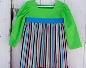 Green, Red and Blue Stripe Corduroy Pullover Dress--Girls Size 3
