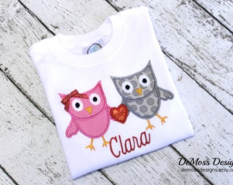 Owl Love Valentine Personalized, Shirt, Bib, or Hand Towel, Appliqued, Short or Long Sleeve Shirt,  Terry Cloth Bib,Totally Custom