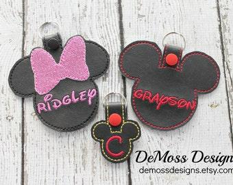 Disney Bag Tag Keychain, Large or Mini, Mickey or Minnie, Vinyl, Custom Made
