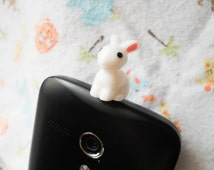 Kawaii Phone Charm, Dust Plug, Dust Stopper, Rabbit Phone Charm, Bunny Phone Charm, iPhone Charm, iPod Charm, Android Charm, Sweet Lolita