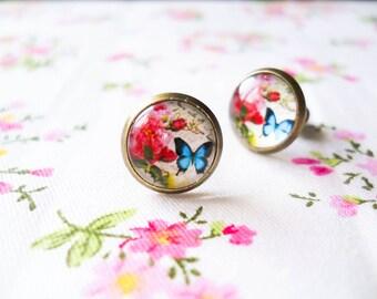Butterfly Post Earrings, Butterfly Stud Earrings, Pretty Earrings, Pretty Butterfly Earrings, Glass Cabochon, Antique Bronze, Romantic