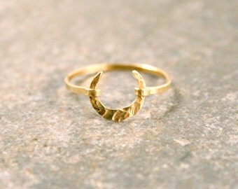 Thin Gold Crescent Moon Ring Wiccan or Celtic Symbol Ring Stacking Knuckle Ring Textured