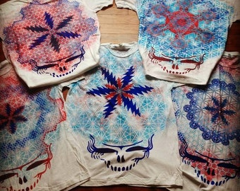 Custom Steal Your Chakras! Sacred Geometry Steal Your Face Hand Painted Chakra Tee shirt
