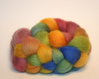 Summer Flowers, Hand Dyed Roving 2.4oz American grown fine wool