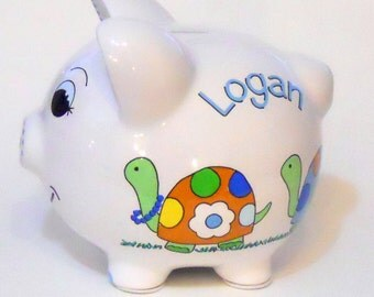 Personalized Piggy Bank Turtle Family