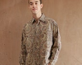 PAISLEY ABSTRACT 90s short sleeve COTTON button up shirt