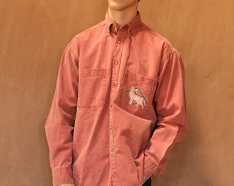 PAINTED wolf vintage southwest SAFARI solid color red COTTON button up shirt