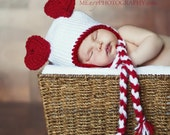 Baby Girl or Baby Boy Valentines Day Bear Heart Ears Hat with Braided Ear Flaps- Crochet Heart Hat- Crochet Valentine Hat-Photo Prop