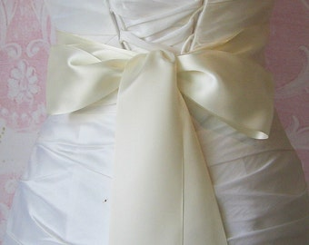 Double Face Ivory Satin Ribbon, 2.5 Inch Wide, Ribbon Sash, Bridal Sash, Wedding Belt, 4 Yards