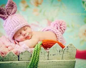 Baby Bunny Hat set, RTS Pink, Newborn, 0-3, 3-6 Months Photo Prop, Easter Rabbit, Chunky Wool Diaper Cover CARROT included Ready To Ship