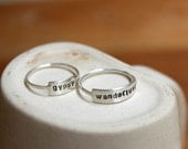Personalized Stamped Bar Ring- wanderlust, gypsy, or your words in sterling silver