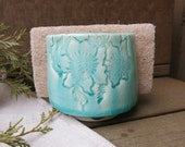 Handmade Ceramic Sponge Holder, Napkin Holder Porcelain in Drippy Aqua Blue Green with Floral Pattern, Artisnal Pottery by Licia Lucas Pfadt