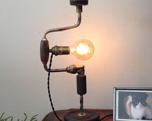 Upcycled Industrial Drill Lamp Repurposed Desk Table Lamp