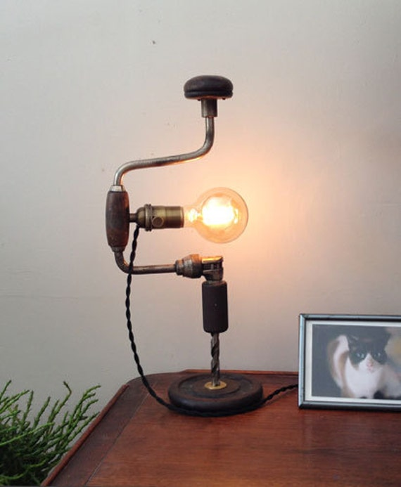 Upcycled Industrial Drill Lamp Repurposed Desk By