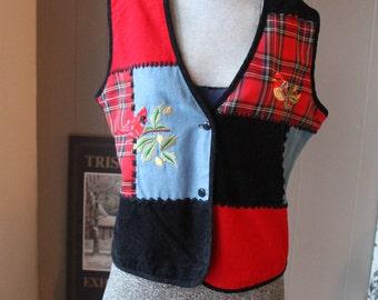 Patchwork Bird Vest / Plaid and Denim Hipster Cotton Vest with Embroidered Birds / Whip Stitched Medium