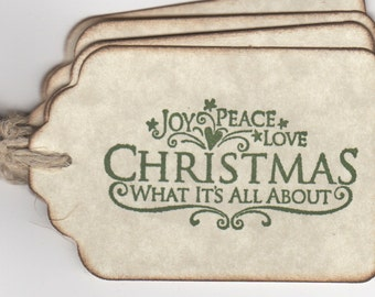 Christmas Tags, Christmas Joy Peace Love Tags, Holiday Gift Tags, Holiday Hang Tags in Green