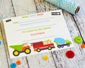 Kids Fill In the Blank Thank You Notes / Kids Thank You Notes / Childrens Big Trucks Thank You Note Cards / Fill In The Blank Big Trucks