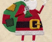 Christmas Skeleton Santa Embroidered White Towel or Quilt Block Square, Whimsical