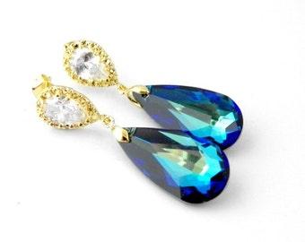 Gold Peacock Wedding Earrings, Gold Wedding Earrings, Blue Bridal Earrings Gold, Drop Wedding Earrings, Gold Wedding Jewelry, Blue Bridal