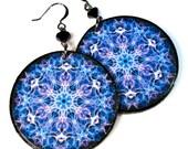 Vibrant Purple Violet Mandala Earrings, Chakra Jewelry,  Mandalas, LARGE