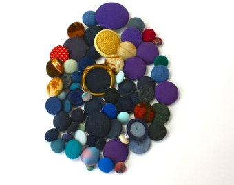 Vintage Buttons Lof of 65 Cloth Cover Mixed Button Lot
