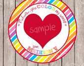 "PERSONALIZED ""You Color My World"" / ""You Make My Heart Melt"" Valentines Favor Cards -Melted Crayon Heart Card-Digital/Printable -DIY"