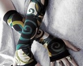Aelfwar Garden Arm Warmers - Black Teal Blue Olive Green & Cream Swirls Cotton - Yoga Gothic Dark Tribal Fusion Belly Dance Vampire Cycling