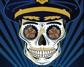 Male Policeman Sugar Skull 11x14 print