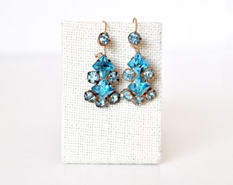 Vintage Pierced Teal Drop Earrings