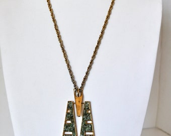 Vintage 70s Geometric Inlay Necklace