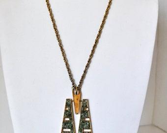 Vintage 70s Geometric Inlay Necklace