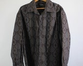 SALE - Vintage Tribal Pattern Casual Dress Shirt - Mens Size Large