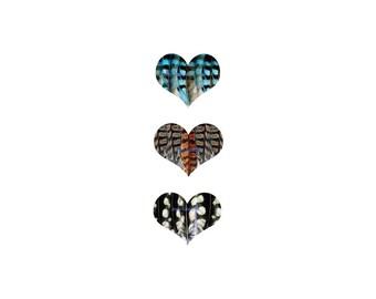 I LOVE BIRDS three hearts - archival quality print